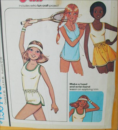 McCall 5970 misses tennis skirt top headband size 6 to 8 pattern Stretch knits