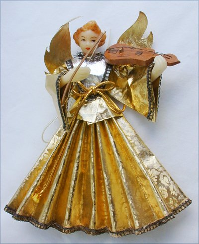 Angel ornament West Germany vintage beautiful face mini violin