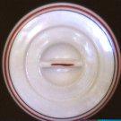 Anchor Hocking white milk glass red black trim lid St Dennis ware