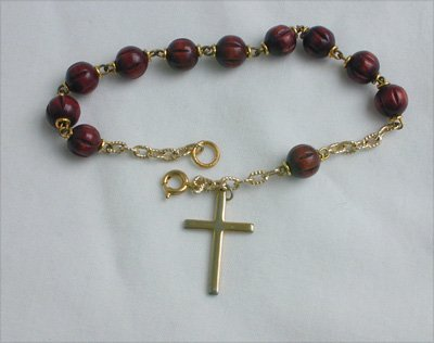 New rosary bracelet wooden beads 8 inches