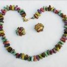 Vintage Hong Kong necklace earring set light plastic beads look like stones multicolors