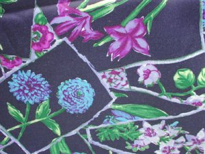 "Satin feel polyester fabric dark navy & flowers 58"" wide SS7104 mark"
