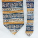 Van Heusen tie 100% silk gray blue and gold stripes 3 3/4 inches