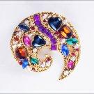 Modern rhinestone heart pin crescent shape no mark jewelry