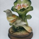 """Tilso bird with flower hand painted Japan sticker 5 1/2"""" figurine muted greens"""