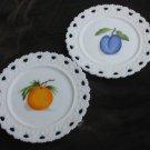 "2 white mik glass plates open lattice edge fruit centers orange plum 7 1/4"""