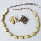 Karu Arke Vintage demi parure thermoset jewelry yellow necklace earring set