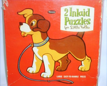 Whitman Inlaid Puzzles vintage 1950s pieces into forms frames worn has box