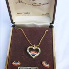 Marquis Collection set heart necklace and stud earrings patriotic theme