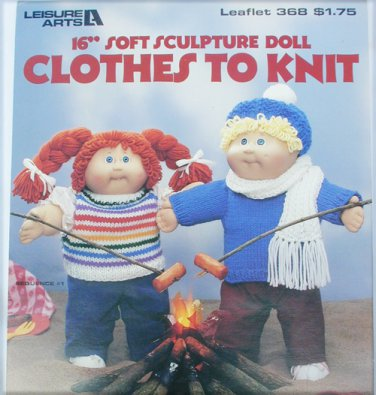 "Leisure Arts 368 knit patterns dolls like Cabbage Patch 16"" soft sculpture"