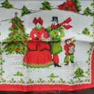 Parisian print vintage towel carolers Christmas tree house never used