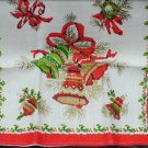 Parisian print vintage towel Christmas bells never used