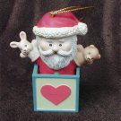 """Lustre Fame Santa in toy box Christmas ornament 1992 2.5"""" great shape"""