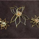 Poinsettia pin & clip earrings gold tone wire and beads vintage jewelry