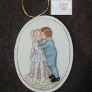 Schmid ornament Blue Boy & Pinkie 1989 oval 2.5 x 3 1/4 inch