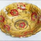"Goofus Glass red painted flower bowl gold back 4 seams EAPG 9"" diameter"