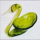 Rainbow Glass green swan planter candy dish & label elegant art glass hand blown