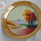 "Chikaramachi lustre ware split handle 9 1/2"" large bowl castle scene hand painted"