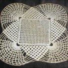Doily square center scalloped corners 9x9 inch light ecru hand crochet