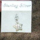 Sterling silver star bracelet charm 1/2 inch on card
