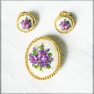 Needlepoint purple flowers pin & clip earring set retro jewelry pettipoint
