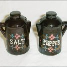 Coffee pot shape salt pepper shakers Japan blue sticker brown glaze pottery tiny