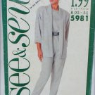 Butterick See & Sew 5981 woman's jacket top pants size XS to XL UNCUT pattern
