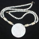 Mother of Pearl necklace double bead strands & pendant retro jewelry good
