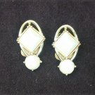 Emmons opalescent clip earrings pink shading double plastic stones gold tone