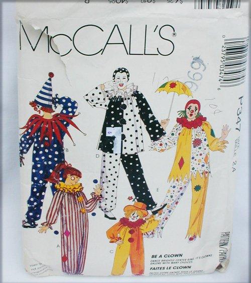 McCall P347child clown costume pattern size 2 4 sewing pattern