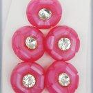"5 Rose molded plastic buttons & shanks rhinestone centers 3/4"" diameter vintage"