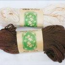 Gordon Deluxe rug yarn 2 skeins vintage 100 yards each 1 ecru 1 brown spun rayon