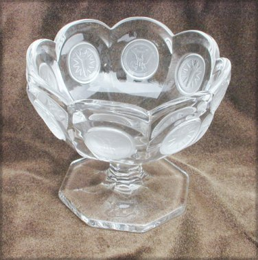 Fostoria Coin pedestal dish small compote frosted eagles stars/torches 3 7/8""