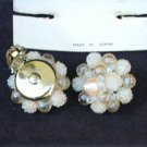 Clip earrings pink clear beads Made Japan on original card vintage
