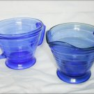 Blue glass Hazel Atlas pitcher & sugar bowl moderntone