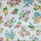 Cotton blend fabric ecru with pink blue flowers butterflies quilting 44 inches