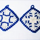 Set of two navy and white crochet potholders double layers 5 inch square