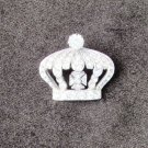 Vintage rhinestone crown shaped pin silver tone back