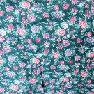 Springs Industries green floral print rose blue flowers cotton blend
