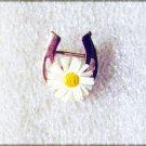 "Wells horseshoe pin white daisy 14 KGF gold fill small 3/4"" long 5/8"" wide"