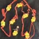 """Necklace orange chain yellow orange beads very retro 50"""" wild"""