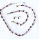 Roman RMN necklace bracelet & stud earrings jewelry light dark bronze beads