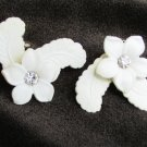 Earrings white plastic flower & feathers leaves clip on rhinestone vintage jewelry