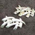 Coro clip on earrings silver tone abstract curved lines