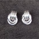 Sarah Coventry stud earrings silver tone double ring drop good