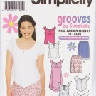 Simplicity 9635 juniors tops dress skirt sizes 7/8 to 15/16 uncut pattern