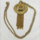 "Avon burnished gold tone pendant with beads & tassel 24"" chain c 1990s"