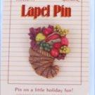 Hallmark Cornucopia fruit Thanksgiving pin on card 1987
