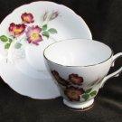 Delpine cup sacuer bone china England purple flowers morning glories?