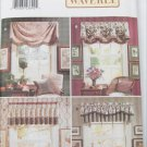 Butterick 4523 window toppers valances several styles UNCUT pattern
